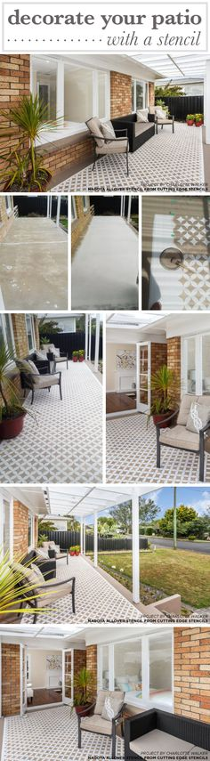 Decorate Your Cement Porch With A Stencil Cutting Edge Stencils shares how to stencil a cement porch using a geometric floor stencil, the Nagoya Allover pattern. Painted Cement Patio, Concrete Patio, Painted Floors, Concrete Floors, Small Outdoor Patios, Outdoor Spaces, Outdoor Living, Outdoor Decor, Stenciled Floor