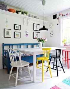 whimsical colorful dining room table bench painted chairs white walls - bench longer than the table Mixed Dining Chairs, Dining Area, Dining Rooms, Dining Table, Small Dining, Mismatched Chairs, Dining Room Colors, Colorful Chairs, Blue Chairs