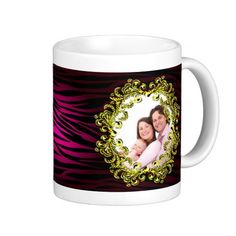 """http://www.zazzle.com/pink_black_gold_tiger_zebra_print_vintage_frame-168079615419312270?rf=238523064604734277 Pink Black Gold Tiger Zebra Print Vintage Frame Mug - This mug has a glowing, pink and black zebra or tiger print in the background with a gold frame in which to place your own picture! See all the other colors in this style by visiting my store """"BeautifulFrames"""" on Zazzle."""