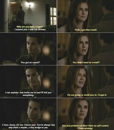 """""""You just pointed out I have no self control. Clever strategy."""" #tvd #loganfell #jenna #humor http://allabouttvdcw.blogspot.com/ https://www.youtube.com/channel/UCHLoEl7tEqqYPi-rxD9SgQw"""