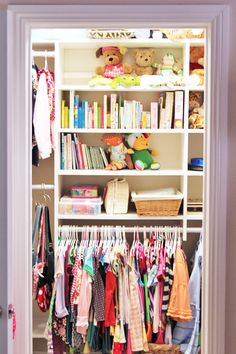 closet organization!- lower the clothes rod or use shower curtain rod so little people can hang up their own clothes!