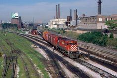 Local CP Rail Freight Train led by MLW C-424 No. 4249, Toronto, Ontario, Canada, circa 1982.