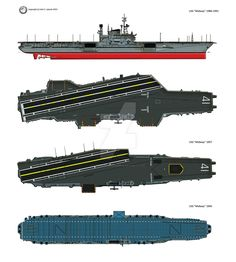 """The US aircraft carrier USS """"Midway"""" in her three lifetime configurations; 1957 and USS-Midway-main-kolor Uss Zumwalt, Navy Carriers, Us Navy Ships, Naval History, Army Vehicles, Military Helicopter, Flight Deck, United States Navy, Military Equipment"""