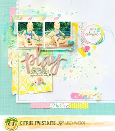 "Citrus Twist Kits DT Project - 2016 May ""Beach Glass"" Main Kit & Sprinkles Kit; Pink Paislee Fancy Free, Crate Paper Maggie Holmes, CTK exclusives"