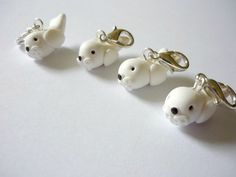 Seal crochet stitch markers, kawaii seal charms by AbsoKnittingLutely