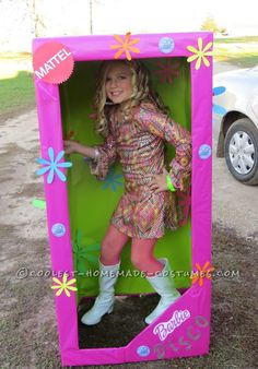 Coolest Homemade Costume for a Girl: Disco Barbie in-a-Box… Enter the Coolest Halloween Costume Contest at http://ideas.coolest-homemade-costumes.com/submit/
