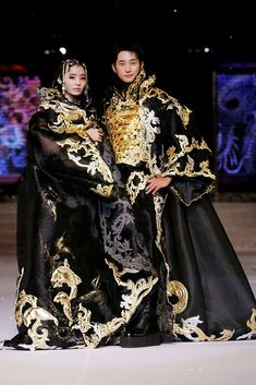 Chae -Young and Park Si-Hoo showcase designs by Korean couture designer Andre Kim at the opening catwalk show on the first day of Bali Fashion Week 2008 at the Lotus Pond.