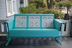 pretty blue and white Glider Cushions, Porch Glider, Lawn Furniture, Outdoor Furniture, Outdoor Decor, Outdoor Living, Furniture Redo, Glider Redo, Vintage Porch