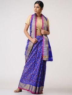 Blue-Pink Ikat Kota Silk Saree with Zari