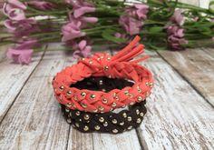 Gold Studded Suede Diffuser Bracelet Essential by naturesloveshop