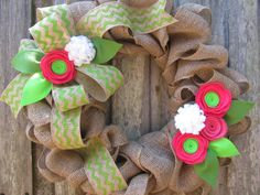 18 Summer Burlap Wreath   Bright Pink  White by TheRuffledPage, $55.00