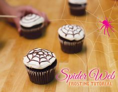 Halloween Cupcakes: Spider Web Frosting Tutorial from HWTM. I also make the spider webs on top of mustard and ketchup bowls when serving with what we call worms...hotdogs cut into pencil sized strips and then boiled. cutting prior to boiling makes them curl like worms.