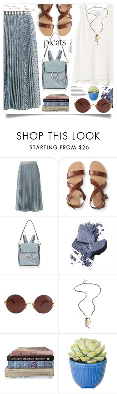"""""""Give me Pleats,please!"""" by wuteringheights ❤ liked on Polyvore featuring MSGM, Aéropostale, Chloé, Bobbi Brown Cosmetics, Cartier and Chan Luu"""