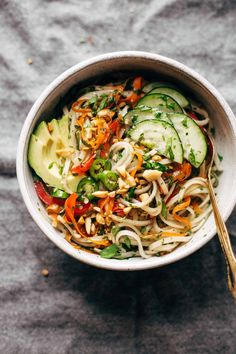 Spring Roll Bowls - basil, mint, rice noodles, fish sauce, brown sugar, lime juice, and whatever other protein and veggies you have on hand! Easy to make meatless! #glutenfree #sugarfree #salad #dinnerrecipe #healthy | pinchofyum.com
