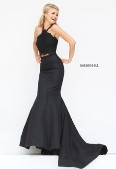 Sherri Hill 50419 two-piece prom dress. https://www.pinterest.com/behzadj/jovani-prom-dresses/, https://www.pinterest.com/behzadj/blush-prom-dresses/ or https://www.pinterest.com/behzadj/alyce-paris-prom/ for other halter neck prom dresses. Sherri Hill is selling out fast.