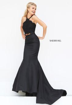 Sherri Hill 50419 two-piece prom dress. https://www.pinterest.com/behzadj/jovani-prom-dresses/, https://www.pinterest.com/behzadj/blush-prom-dresses/ or https://www.pinterest.com/behzadj/alyce-paris-prom/ for other halter neck prom dresses. Sherri Hill is selling out fast.