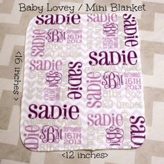 Personalized Baby Lovey Mini Blanket by monogrammarketplace