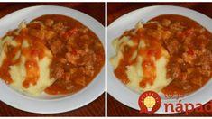 Zázračný guláš BEZ VARENIA, podľa mojej svokry: Nikdy by som nepovedala, že fantastický guláš sa dá pripraviť bez práce! Meat Recipes, Stew, Chili, Grilling, Food And Drink, Chicken, Goulash, Koken, Chili Powder