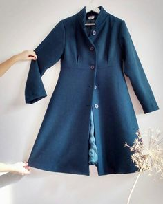 Cappotto in pura lana melange verde scuro e blu con di nivule