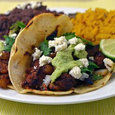 Tacos Al Pastor with Tomatillo-Avocado Salsa (My favorite Mexican-style recipe!) | blog.hostthetoast.com