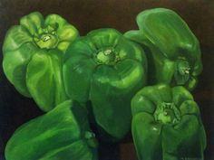 """Green Peppers - Oil paint on canvas, 18"""" x 24"""", by Mark Granlund"""