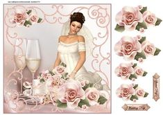 Beautiful bride on Craftsuprint designed by Marijke Kok - Gorgeous wedding design with a beautiful bride and soft pink roses - Now available for download!
