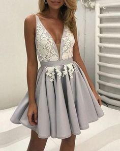 Hd70809 High Quality Homecoming Dress,Appliques Homecoming Dress,V-Neck Graduation Dress,Satin Prom on Luulla