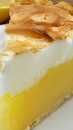 Lemon Meringue Pie ~ a flaky oil pastry, filled with a thick, smooth, tangy lemon filling then topped with a billowy meringue