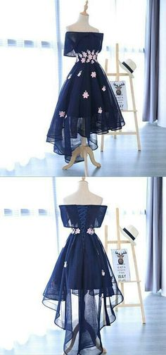 A-Line Dark Navy High-Low Appliques Short Homecoming Dress, Shop plus-sized prom dresses for curvy figures and plus-size party dresses. Ball gowns for prom in plus sizes and short plus-sized prom dresses for Cheap Homecoming Dresses, Cute Prom Dresses, Grad Dresses, Cheap Dresses, Pretty Dresses, Beautiful Dresses, Long Dresses, Elegant Dresses, Dress Prom