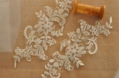 Alencon lace applique in ivory with silver thread , one pair