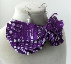 purple and white batik print dangle fabric earrings by earjeans