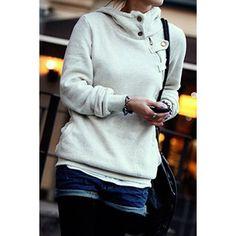 Side Pockets Design Long Sleeve Loose Women's Hoodie, GRAY, M in Sweatshirts & Hoodies
