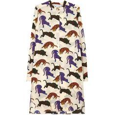Womens Knee-Length Dresses Stella McCartney Tiger Printed Silk Dress (€1.095) ❤ liked on Polyvore featuring dresses, pink knee length dress, stella mccartney, stella mccartney dresses, silk dress and multi color dress