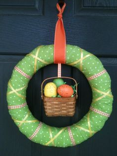 Easter Basket Wreath Orange Green and Yellow by PolkadotsOriginals, $30.00