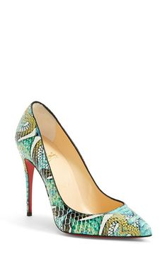 Christian Louboutin 'Pigalle' Hand Painted Genuine Python Pointy Toe Pump available at #Nordstrom