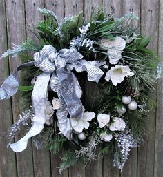 Silk Floral Silver Bells Holiday Front Door Wreath - Ready to Ship Home Decor Holiday Wreaths, Christmas Decorations, Holiday Decor, Wreaths For Front Door, Door Wreaths, Silver Fern, White Silk, Ship, Rose