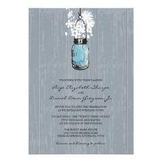 Rustic Hanging Mason Jar Wedding Custom Invitations from Zazzle.com