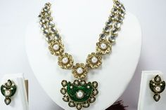 INDIAN BOLLYWOOD BRIDAL GOLD TONE NECKLACE PENDANT EARRINGS SET FASHION  JEWELRY #Handmade