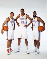 Russell Westbrook, Kevin Durant and James Harden of the Oklahoma City Thunder, #OKCThunder #NBAFinals http://www.fansedge.com/Russell-Westbrook-Kevin-Durant-James-Harden-Oklahoma-City-Thunder-12132011-_-894630403_PD.html?social=pinterest_pfid77-12212