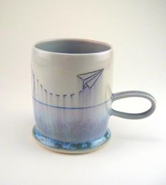 Paper+Airplane+Porcelain+Mug+by+Silver+Lining+Ceramics+on+Scoutmob+Shoppe