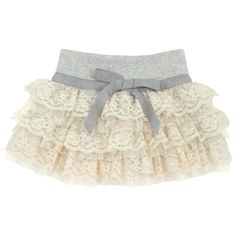 Grey+cotton+jersey+skirt+with+layered+tulle+and+beige+lace+frills.+Wide+stretch+ribbed+knit+waistband.
