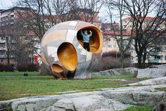 Egg-like playground, created by European sculptor Egøn Möller-Nielsen. This large concrete playground is still popular with the kids in Tessin Park in Stockholm.