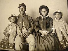 *incredible The only known photograph of an African American Union soldier with his family. c1863-65