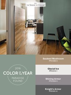 The PPG Voice of Color®, 2016 Paint Color of the Year Paradise Found is featured in this space as a backdrop of nature-inspired color. This palette represents a new direction for 2016 characterized by a design sensibility that is edgy, structural, masculine, dark and sturdy. Drawn from consumers' increasing desire for safety and security, the elements of this theme, including colors that are primarily dark and neutral in nature, work together to convey strength and protection.