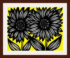 """Revard Yellow Black Flowers 22 X 28 Framed Print Walnut Stain on Oak 22"""" X 28"""" Framed Print.  Walnut Stain on Oak Wood.  High Quality.  Ready to Hang.  Frame Size: 28"""" X 34"""".  Artwork by Eddie Alfaro.  Crystal clear, elegant, and pure.  Super vivid colors in High Definition.  Art Print, Framed Art Print, Artwork, Home Decor, Interior Design, Wall Art…"""