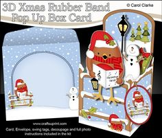 **COMING SOON** -  This lovely 3D Christmas Bobbin Robin Rubber Band Pop Up Box Card kit will be available here within 12 hours - http://www.craftsuprint.com/carol-clarke/?r=380405