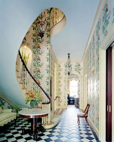 Restoring a House in the City (Brian Park): The mix of prints and patterns is incredible. That staircase is decorating design designs interior design house design Future House, My House, Stairway To Heaven, Aesthetic Rooms, Witch Aesthetic, Interior Exterior, Interior Paint, House Goals, Stairways