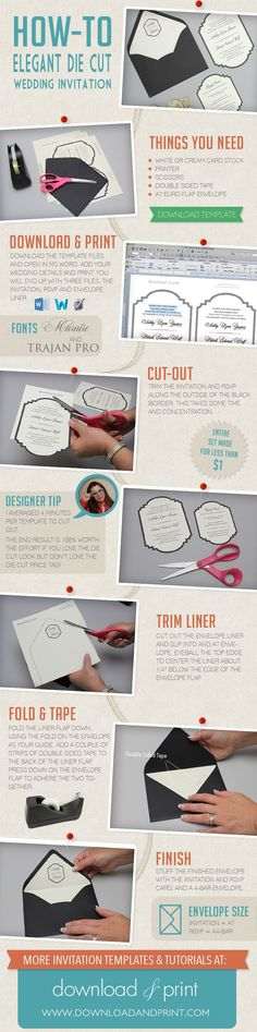 How to DIY a Die Cut #Wedding Invitation with Just Scissors, from #DownloadandPrint. http://www.downloadandprint.com/blog/how-to-make-a-die-cut-wedding-invitation-with-just-scissors/