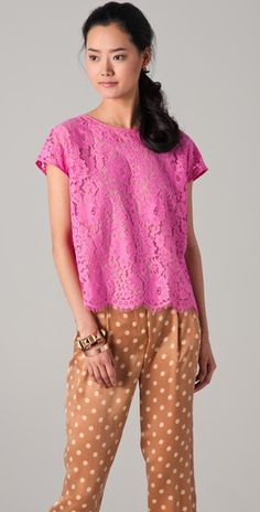 Pink lace and polka dots