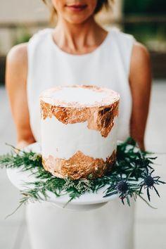 copper leaf cake